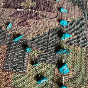Turquoise and liquid sterling silver necklace